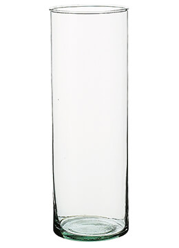Cylinder Vase Recycled Glass 10.5in