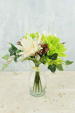 Silk Flower Bouquet Dahlias & Ivy Pink & Green 11in