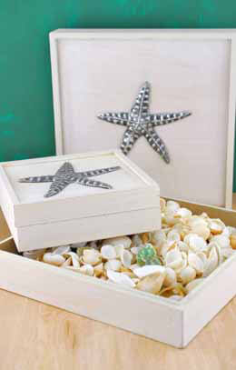 Set of Two Boxes with Pewter Starfish