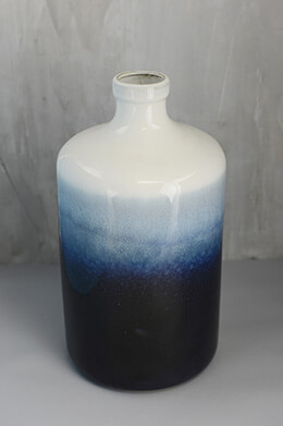 Dark Blue Ombre Vase 14in