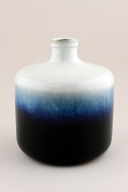 Quinlyn Small Blue & White Ombre Ceramic Jug Vase 8""