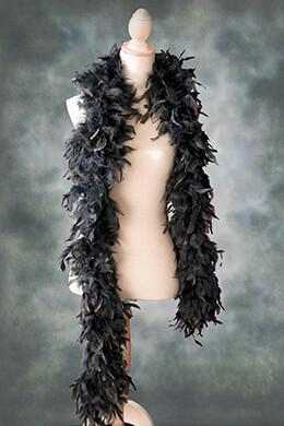 "Feather Boa Dark Gray (9"" width) Chandelle 80 gram"