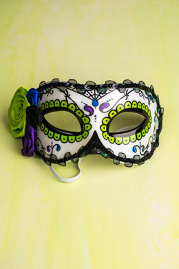 Day of The Dead Half  Mask with Purple and Green Satin Flowers & Lace