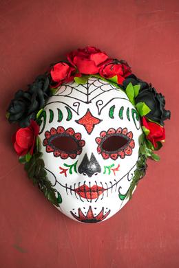 Day of The Dead Black & Red Rose Full Mask