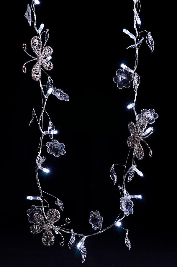 Decorative Butterfly & Crystal Flower LED String Light Garland