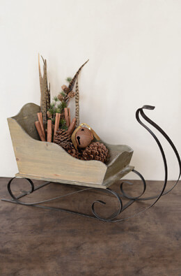 Large Wood & Metal Sleigh  24in