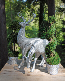 Deer Statues Silver (Set of 2)