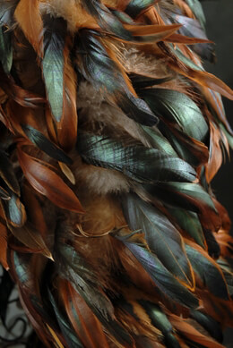 "Designer Boas : Natural Bronze & Black Coque with Chinchilla Feathers (10"" width)"