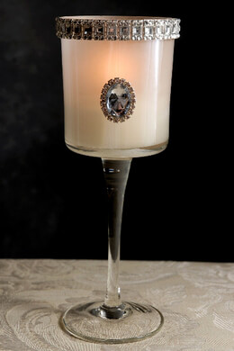 "Diamond Glass Candle Holders 10"" White Lady Jane"