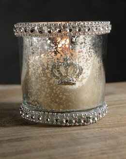 Mercury Glass Candle Holder with Rhinestones 3in