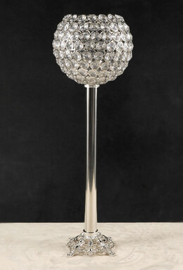 "19"" Pedestal Diamond Crystal Goblet Candle Holders"