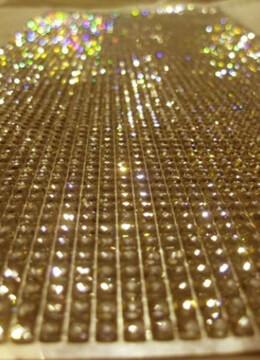 "Diamond Rhinestone Adhesive Sheets Champagne Gold 10"" x 11"" Sheet"