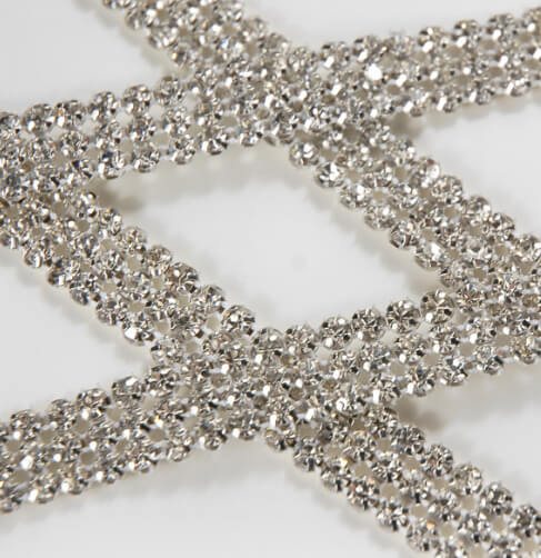 "Diamond Ribbon Trim with Glass Stones 1/2"" wide 3 yards Highest Quality (Glass Stones)"