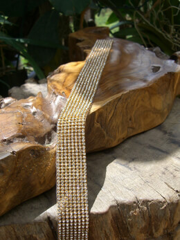"Diamond Ribbon Trim with Stones 1-1/8"" wide 8 rows 18.5 inches gold settings"
