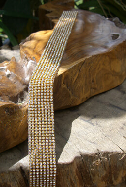 Diamond Ribbon Trim with Glass Stones Gold Setting 1-1/8in x 18-1/2""