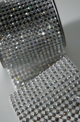 Diamond Ribbon Trim with Glass Stones 2-3/4in x 41in - 16 rows