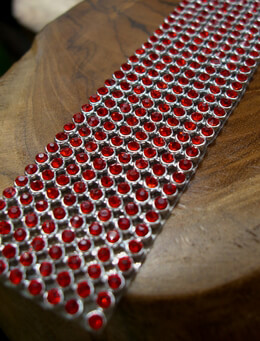 Rhinestone Ribbon Ruby 1 1/8in