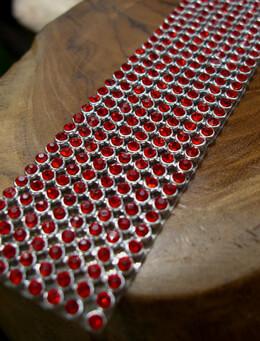 Rhinestone Ribbon Ruby 1 1/8in