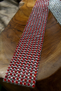 Red Diamond Ribbon Trim with Glass Stones Silver Setting 1-1/8in x 18-1/2""