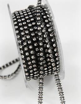 "Diamond Ribbon Wrap Black & Clear 1/8"" width 1 Row 10 yards"