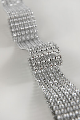Diamond Mesh Wrap 6 Rows  Rhinestone Ribbon 10ft Simulated Rhinestones
