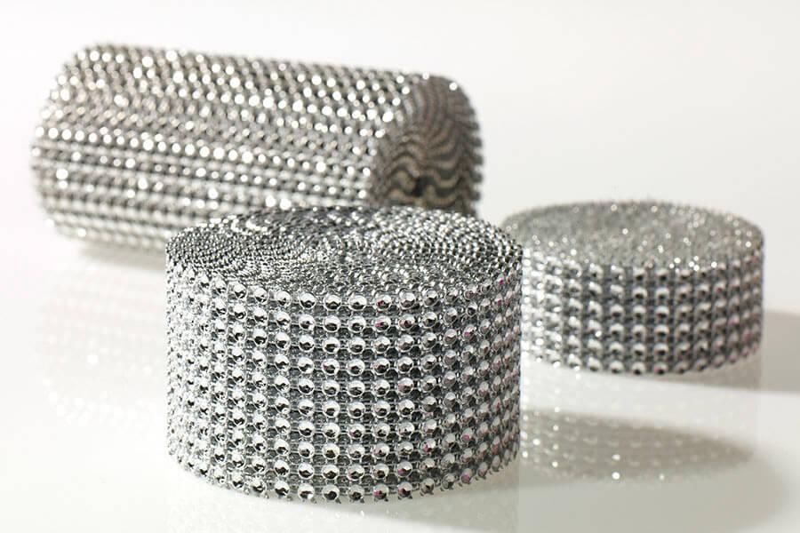 "Diamond Mesh Wrap 2""x 9.8ft Silver Setting, Simulated Rhinestones"