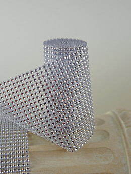 Diamond Mesh Wrap Silver 4.25in x 6ft Simulated Rhinestones