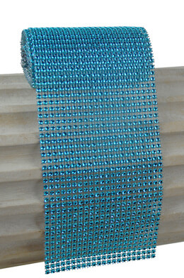 Diamond Mesh Wrap Turquoise 4.25in x 6ft Simulated Rhinestones