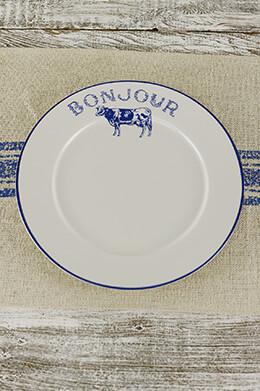 """4 Blue Bonjour Dinner Plates 10"""""""