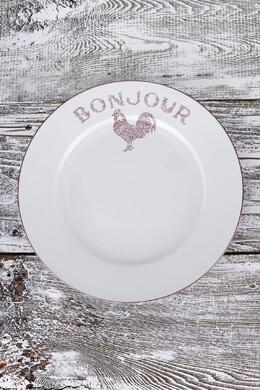 """4 Red Bonjour Dinner Plates 10"""""""