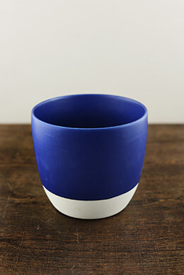 Cobalt Blue Dip Dyed Ceramic Flower Pot 5""