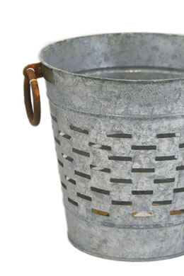 "Tuscan Olive Bucket 12"" with Copper Ring Handles"