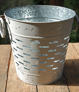 Distressed Round Olive Bucket Small