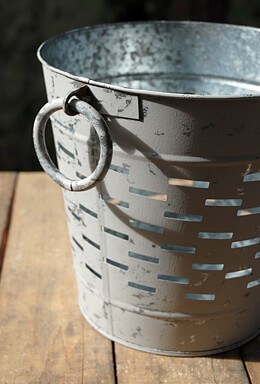 Tuscan White Olive Bucket 9""
