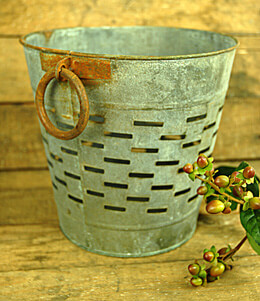 Round Olive Bucket Small Gray