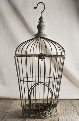 Distressed Wire Birdcage 17in
