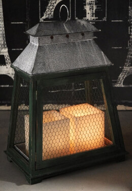 "Distressed Wood & Chicken Wire Large 18x24"" Lantern Green"