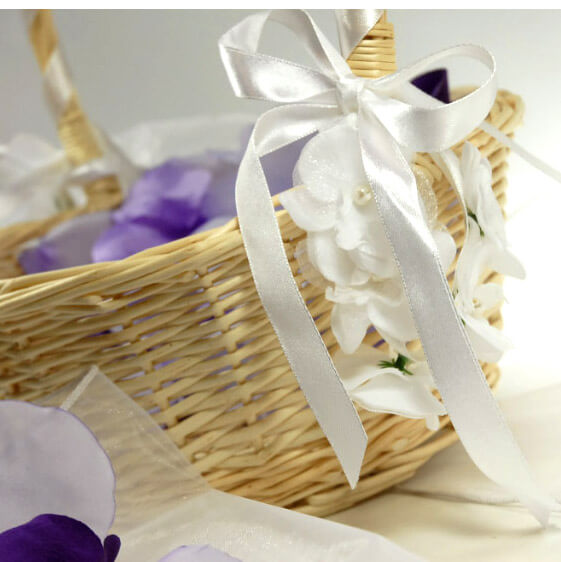 DIY Decorate a flower basket  with wrist corsages