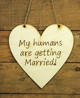 Wood Sign Humans Getting Married Heart