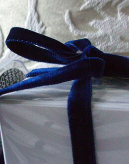 "Double Face Italian Velvet Ribbon Euro Blue 3/8"" wide 11.5 feet"