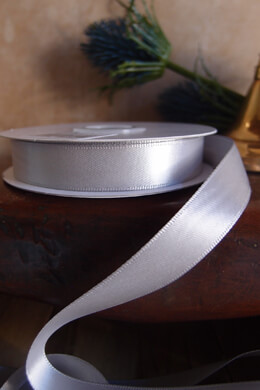 Double Face Satin Ribbon Silver 5/8in x 25yd