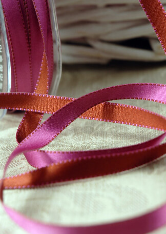 Double Sided Stitched Satin Ribbon Fuchsia & Brick Orange 7/16 width 55 yds