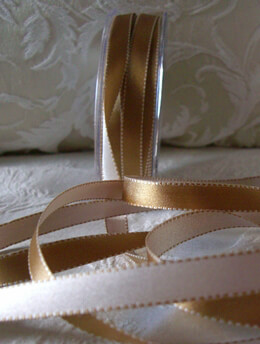 Double Faced Satin Ribbon Gold & Ivory