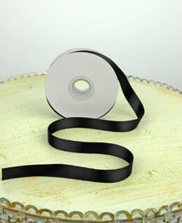 Double Face Black Satin Ribbon  5/8in x 25 yards