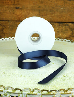 Double Face Navy Blue Satin Ribbon 5/8in x 25 yds