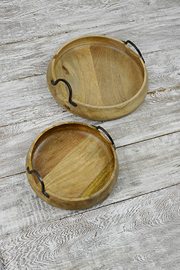 Dough Bowls with Iron Handles (Set of 2)