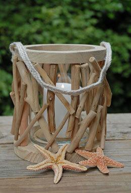 Driftwood Lantern Round 7.5in