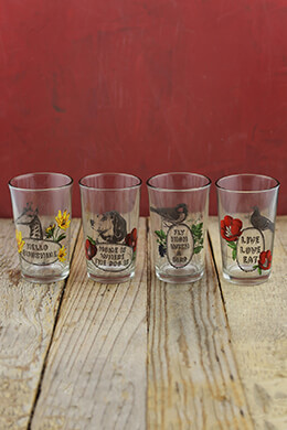 4 Drinking Glasses 4in