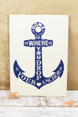 """Home is Where You Drop Your Anchor""  Sign 19ix13, Wall Decor, Nautical"