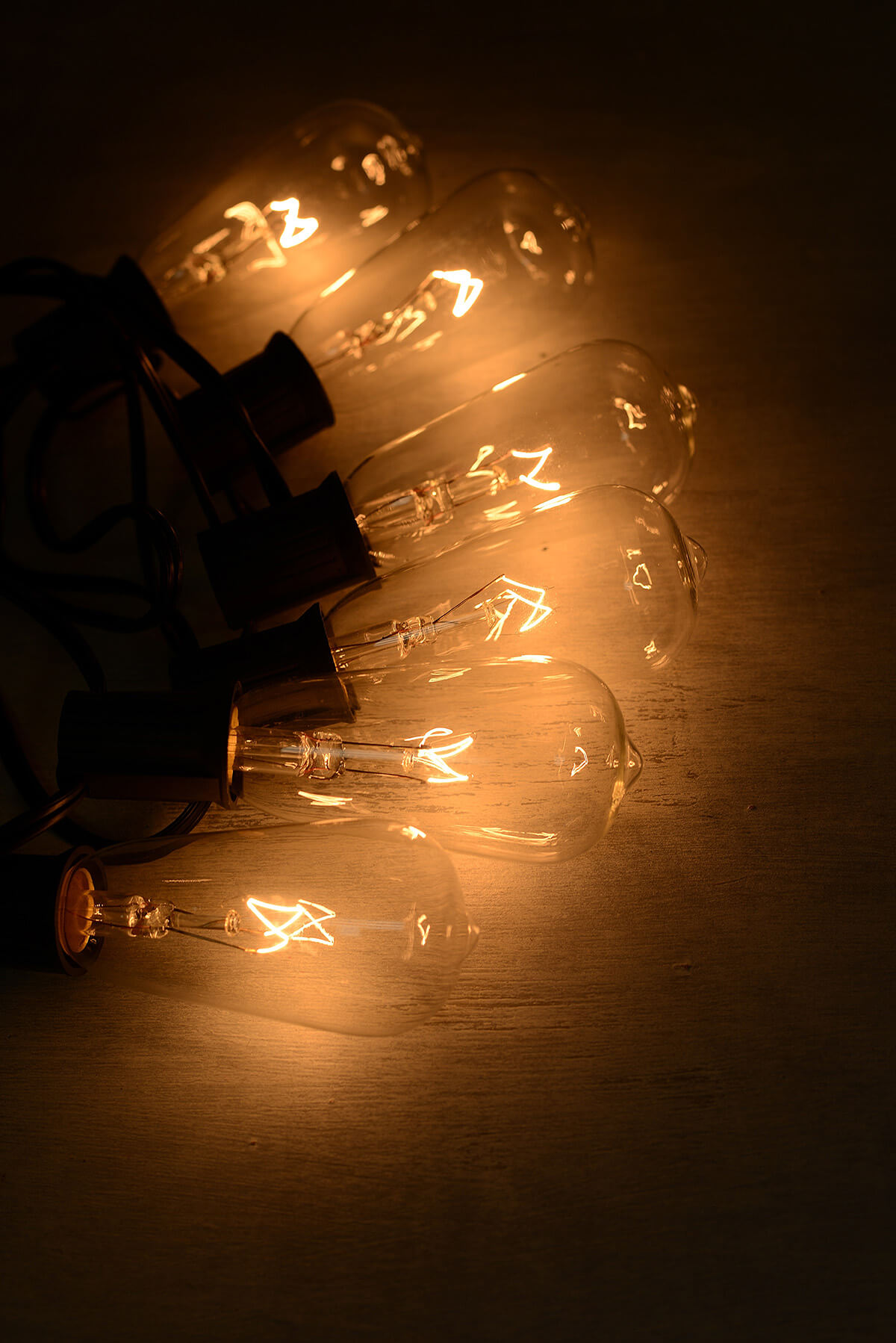 String Lights with Edison Bulb Lights Warm White 9ft - 10ct- Black Cord
